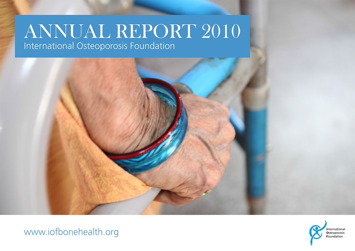 Osteoporosis patient in India on cover of the International Osteoporosis Foundation's 2010 Annual Report