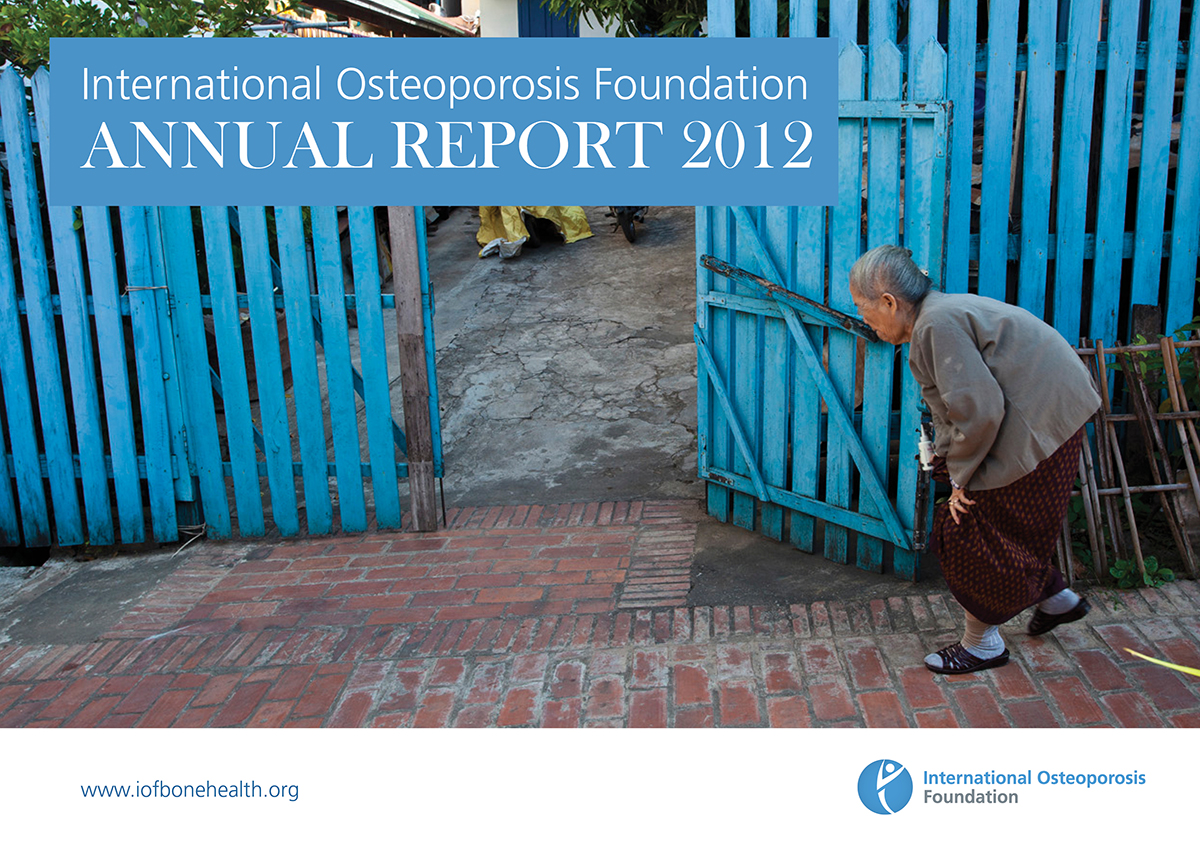Osteoporosis patient in Laos on cover of the International Osteoporosis Foundation's 2012 Annual Report
