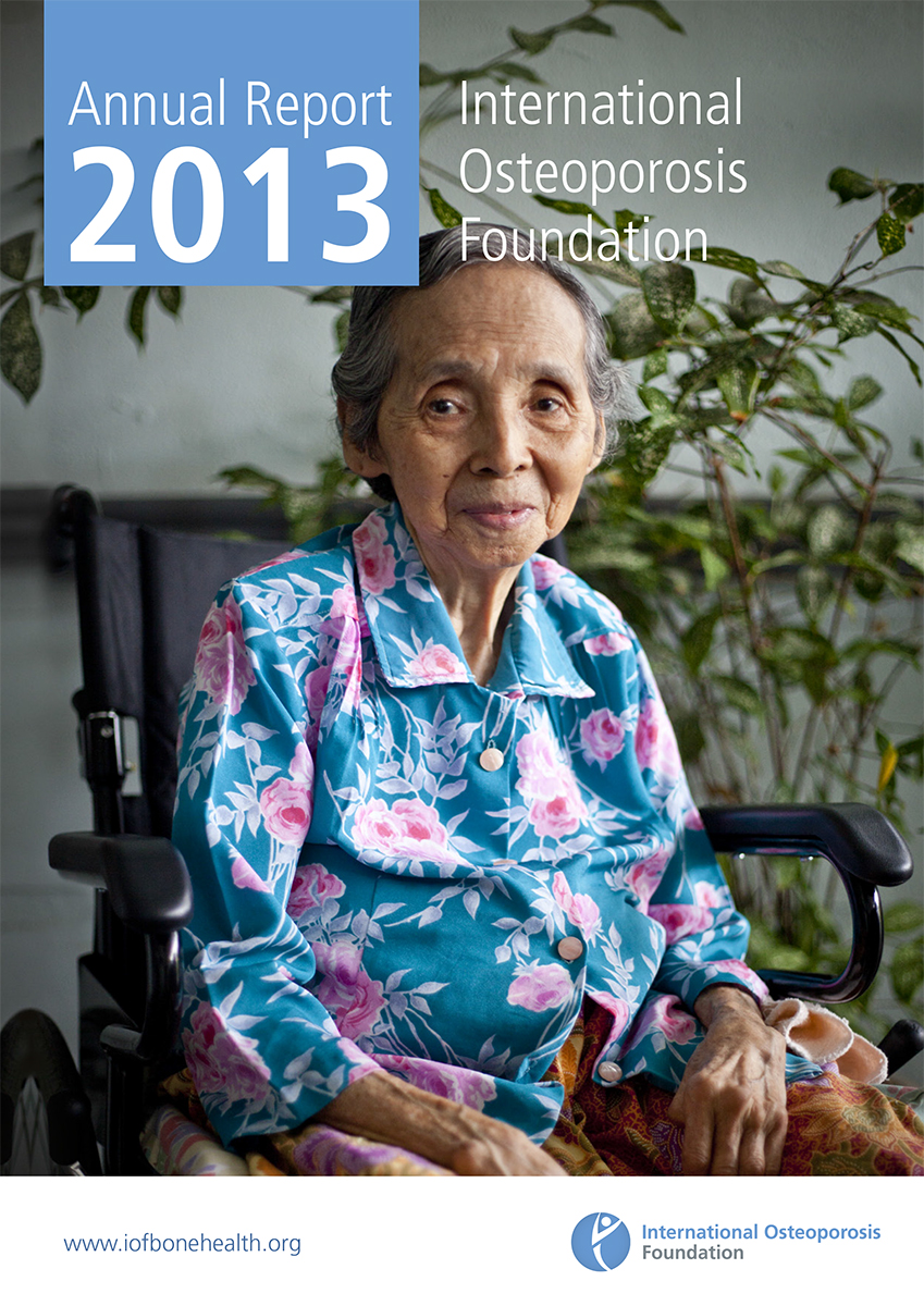 Osteoporosis patient in Malaysia on cover of the International Osteoporosis Foundation's 2013 Annual Report